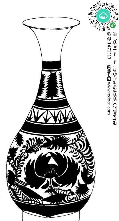 青花瓷花瓶简笔画