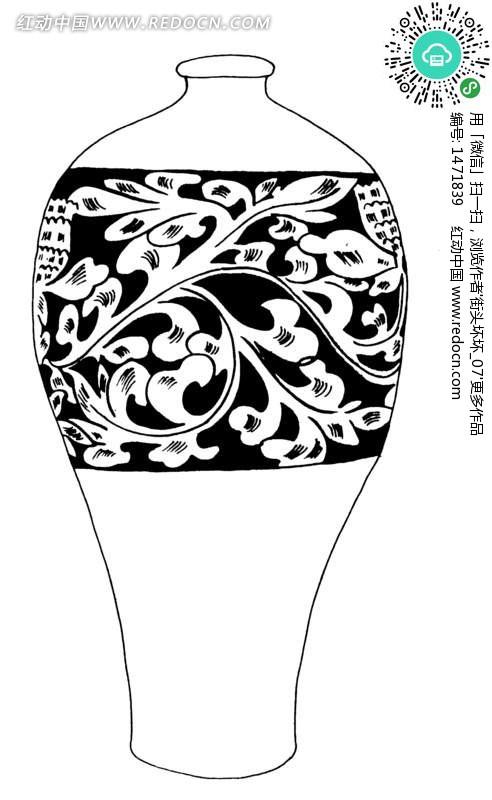 花瓶手绘线描画 手绘画图片