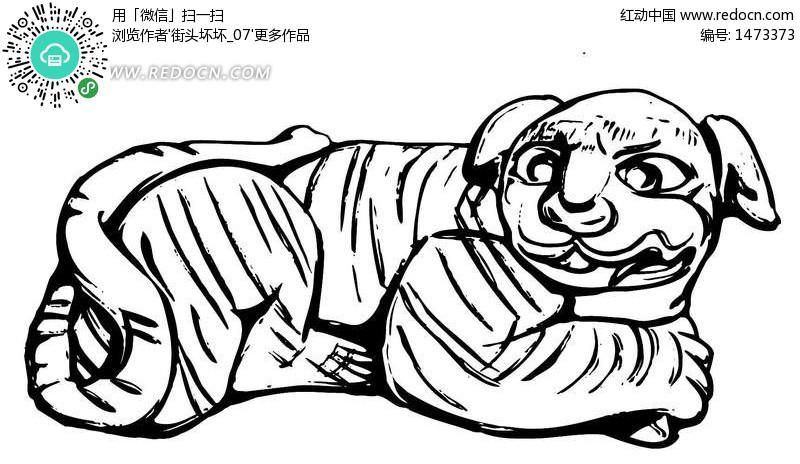 动物黑白素描老虎ai矢量图 1473373 传统图案 艺术文化