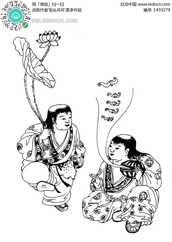 矢量手绘可爱的古代女孩插画图形设计图片