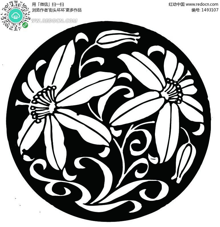 的图片_花卉适合纹样图案图圆形花卉图案适合纹样图片