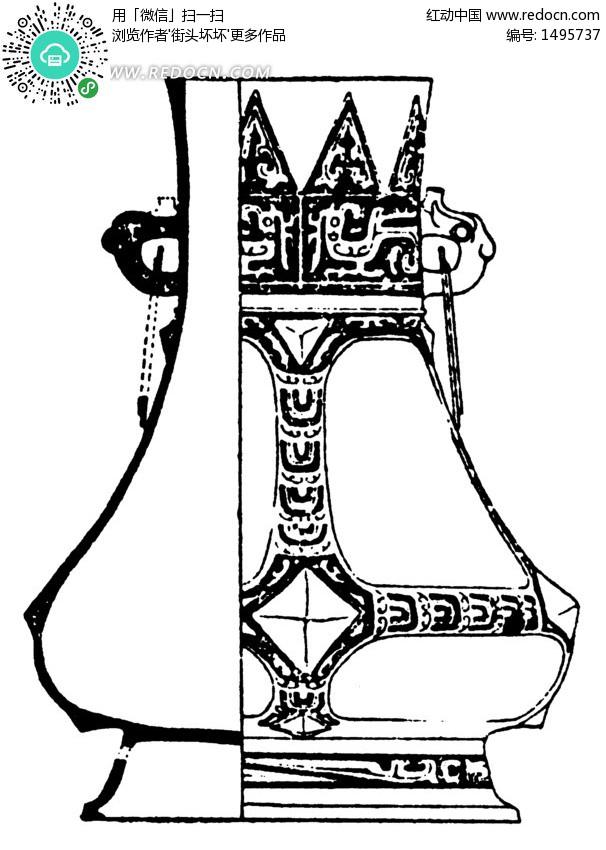 中国古代器物 双耳花瓶 传统图案 纹样矢量图下载 编号 1495737