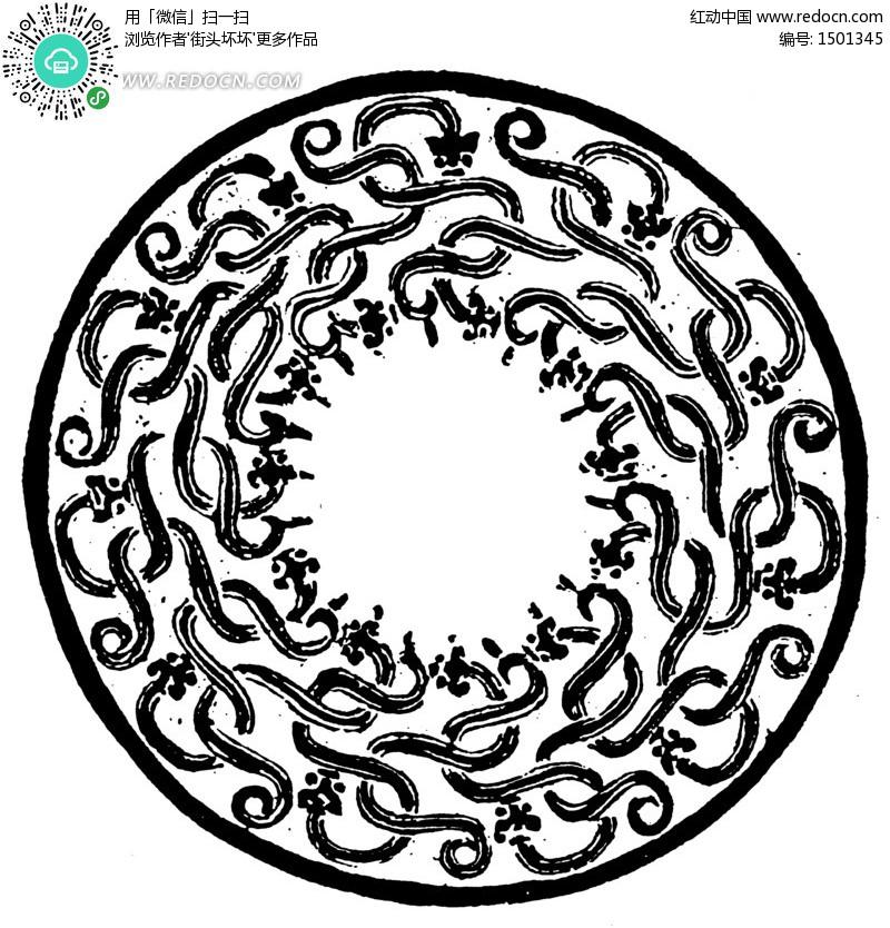 中国传统圆形龙纹底纹矢量图(编号:1501345)图片