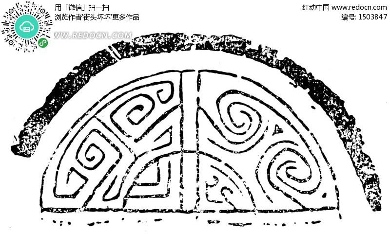 中国古典图案-云雷纹卷曲纹构成的斑驳半圆图案矢量图片
