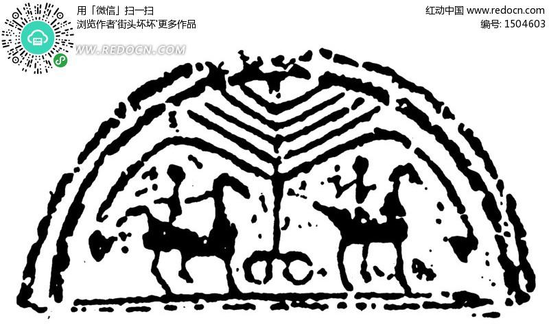 线纹构成的斑驳半圆图 传统图案 纹样矢量图下载 .