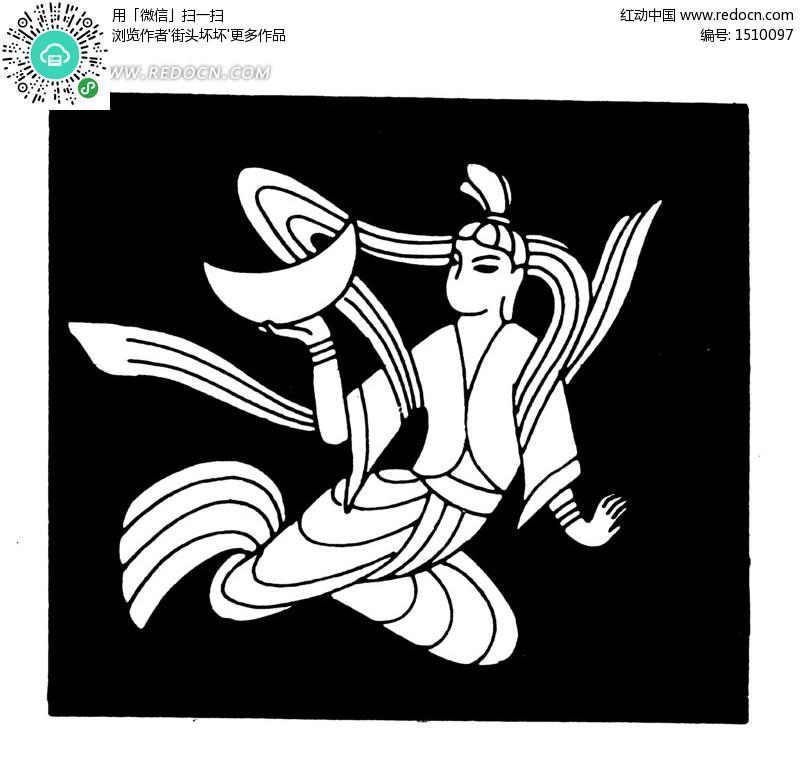 中国古典图案 手托半个月的嫦娥