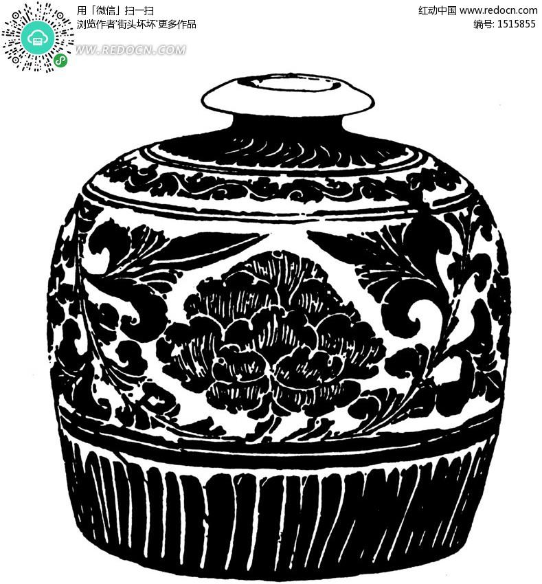 如意花纹元青花瓶设计图片