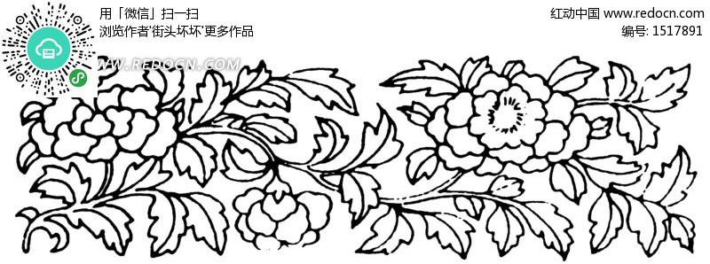 手绘盛开牡丹花纹横幅矢量图(编号:1517891)-手绘花边简笔画