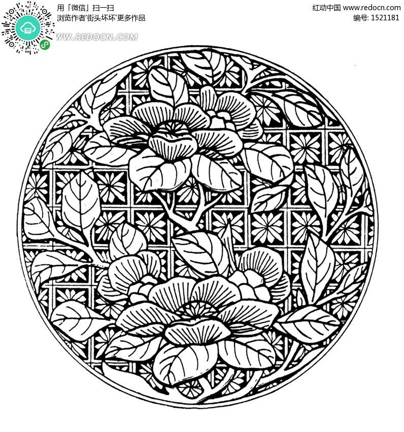 花卉纹样黑白图案,矢量图黑白装饰纹样_黑白花卉适合纹样图案,花卉图片
