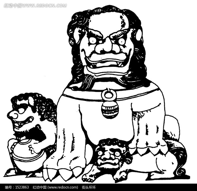 矢量古代石狮子插画图形-传统图案|纹样矢量图