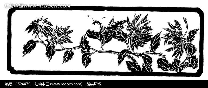 树叶画边-色边框中的植物叶子插画