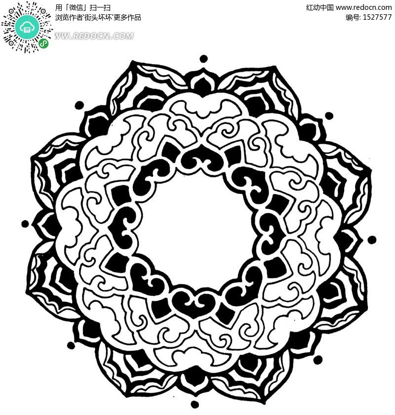 古典传统圆形图案矢量素材 传统图案 纹样矢量图下载 ...