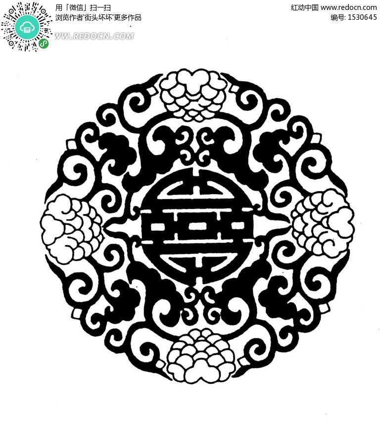 黑白单独纹样图案,黑白传统纹样,花卉纹样黑白图案 .图片