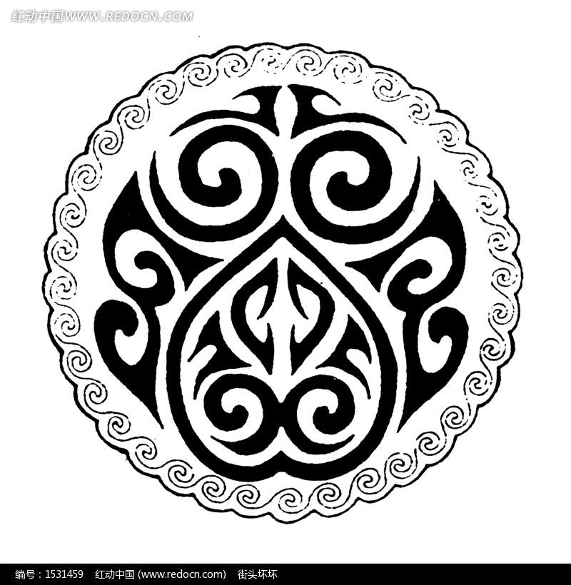 传统圆形图案矢量素材 传统图案 纹样矢量图下载 1531459