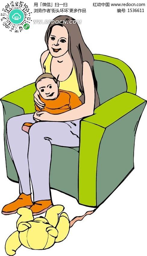 沙发上的妈妈抱着小孩 卡通人物矢量图下载 1536611