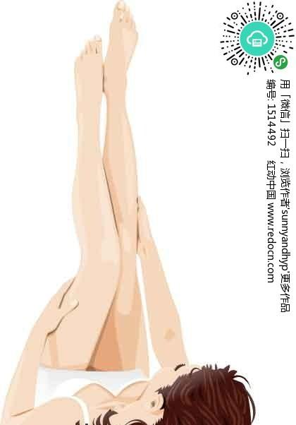 露双腿的卡通人物 美女矢量图|女人矢量图|女性矢量 竖