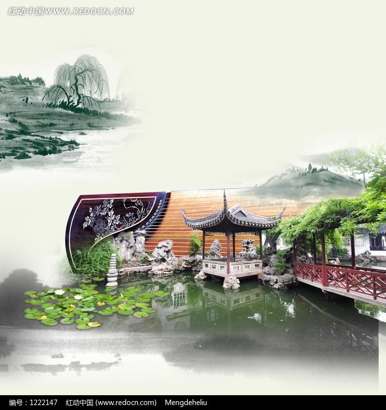 中国水墨园林风景PSD分层素材