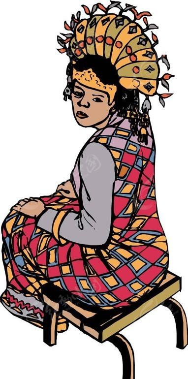 苗族姑娘eps素材矢量矢量素材插画卡通卡通人物卡通