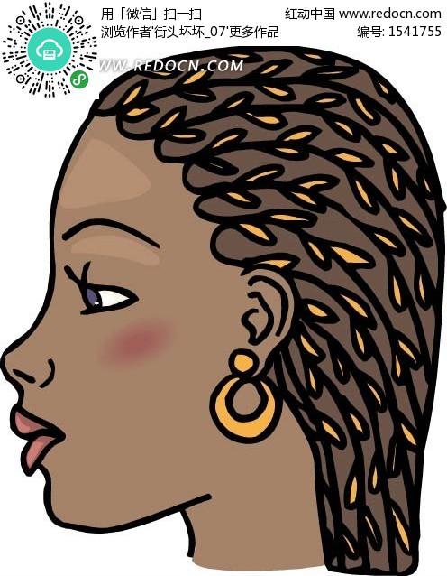 手绘戴着耳环的黑人女士侧面头