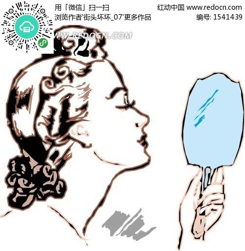 手绘打照镜子的女人设计图片