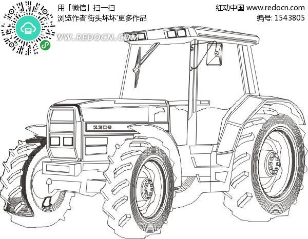 农业机械与庄稼 一台拖拉机