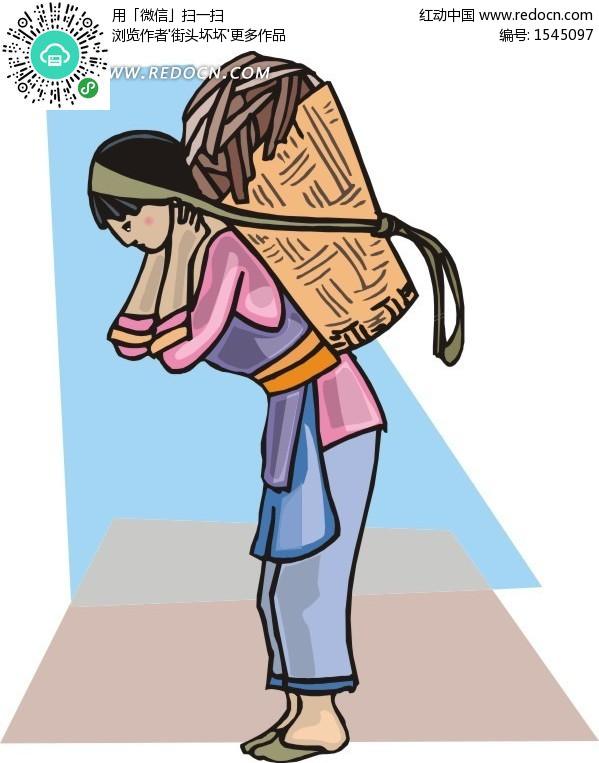手绘背竹篓苗族姑娘eps素材矢量矢量素材插画卡通