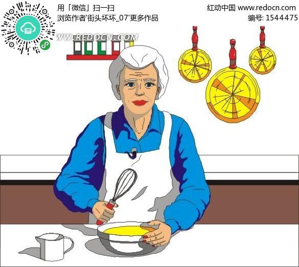 素材女人女性插画卡通老奶奶厨房生活图片人物图片