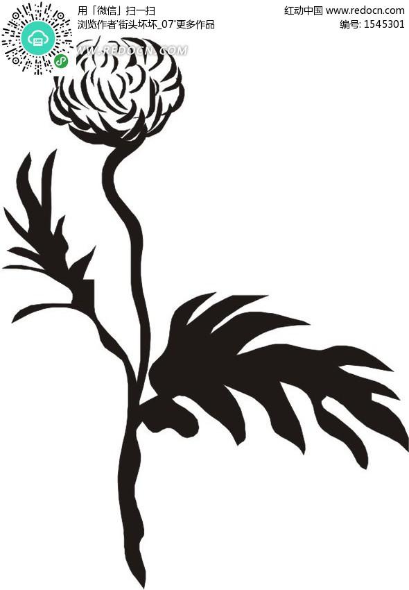 黑白花朵线描图图片