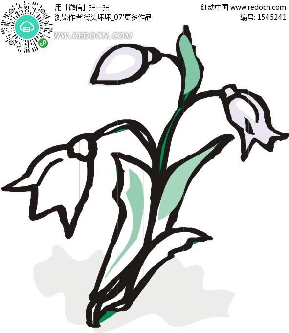 树叶画边-白色花朵和叶子卡通画