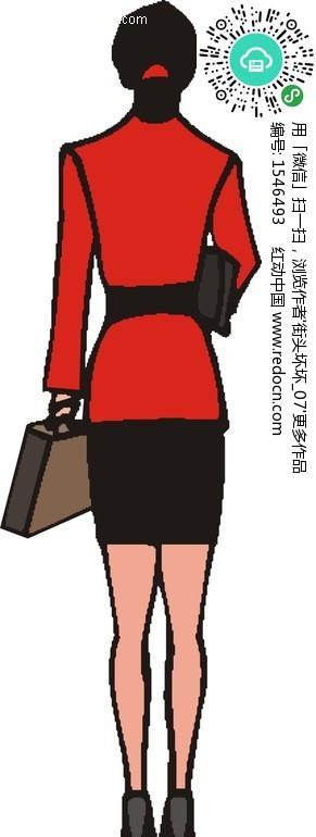 手绘穿着红色衣服的女人背面矢量图(编号:1546493)