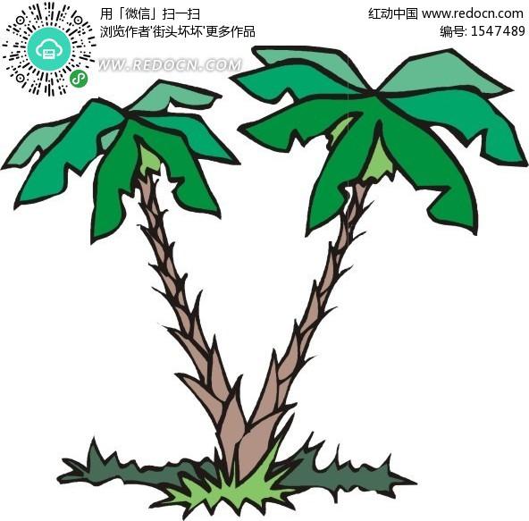 手绘树根长在一起的椰子树