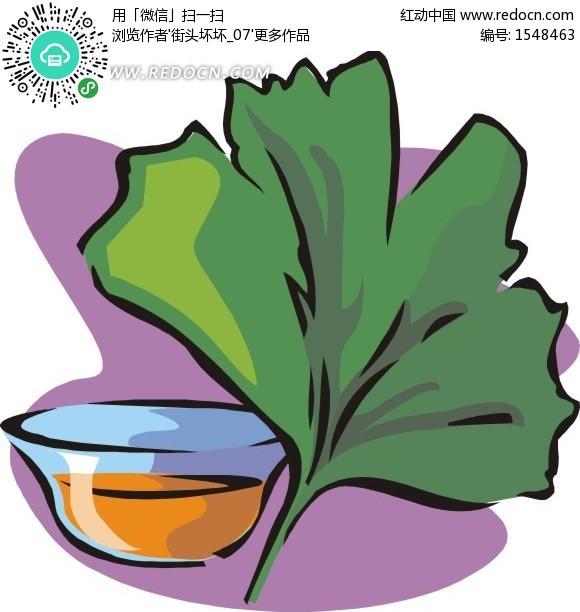 绘水盆边的绿色银杏叶 花草树木矢量图下载 编号 1548463