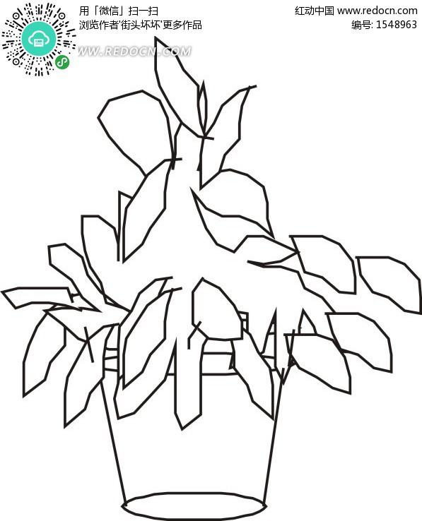 手绘简易花盆里的植物 花草树木矢量图下载 编号 1548963 -手绘简易花