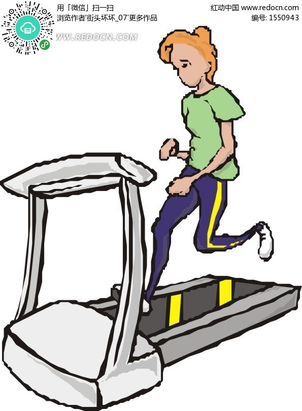 跑步机上的卡通美女设计图片