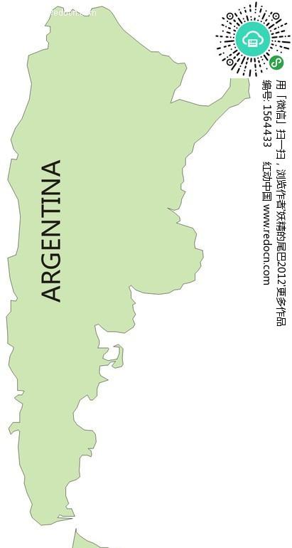 手绘阿根廷绿色地图-生活百科