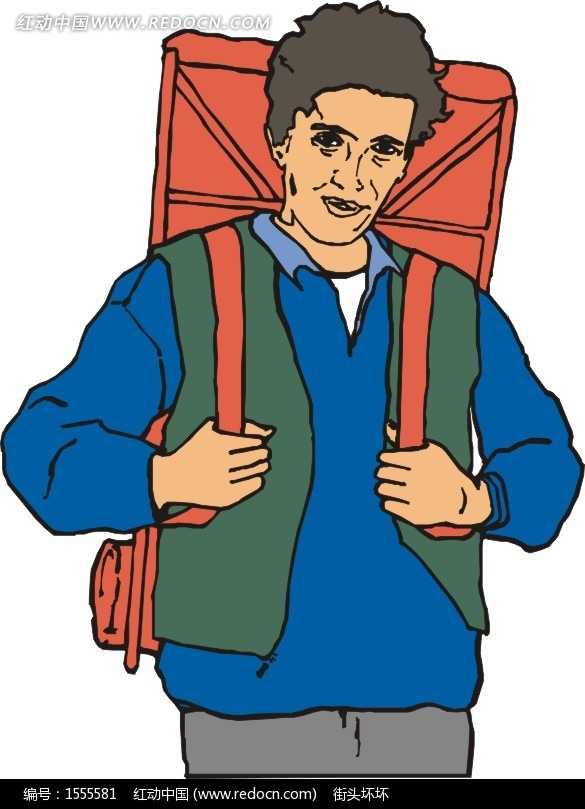 背着包包的男人矢量图矢量图(编号:1555581)