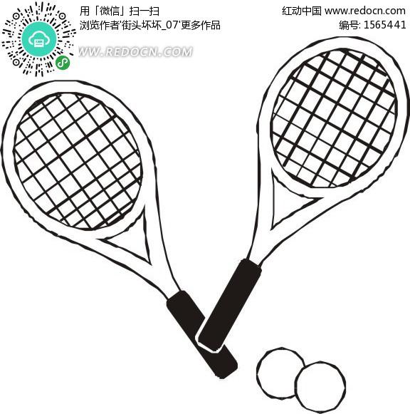 网球简笔画_
