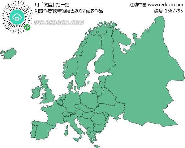 手绘绿色欧洲地图设计图片图片