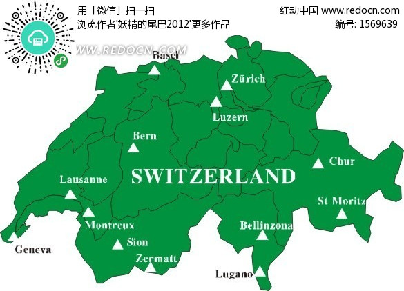 关键词:瑞士地图绿色地图欧洲国家世界