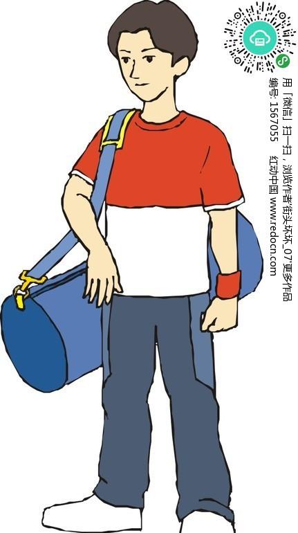 背蓝色背包的男孩-生活百科