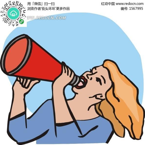 拿着喇叭喊话的美女矢量图(编号:1567995)图片