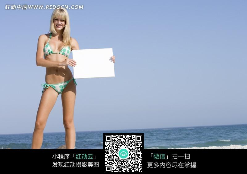 比基尼美女手拿白色纸板图片编号:1581929