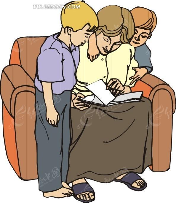 手绘坐在沙发上教导小孩的妈妈 日常生活矢量