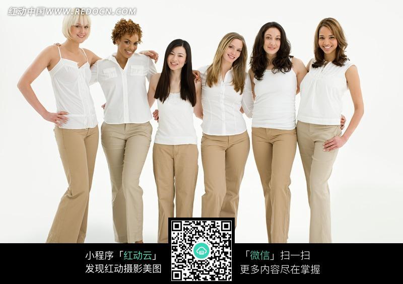 并排站立的六个美女图片 人物图片素材 图片库 图库