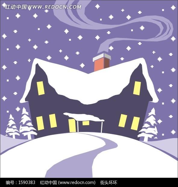 手绘冬天冰雪覆盖的小屋设计图片图片