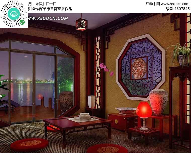 复古中式茶室3dmax模型(编号:1607845)图片