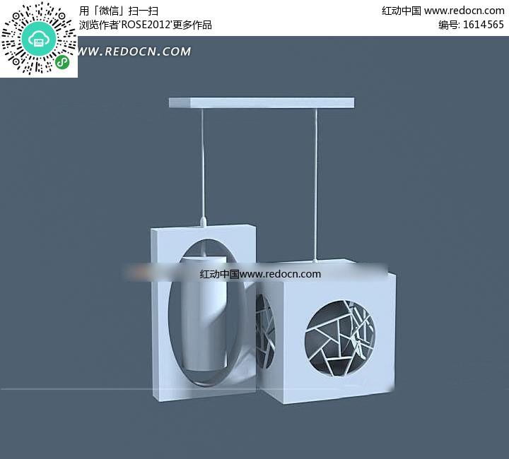 两头简约中式餐厅吊灯3dmax模型-3D模型下载