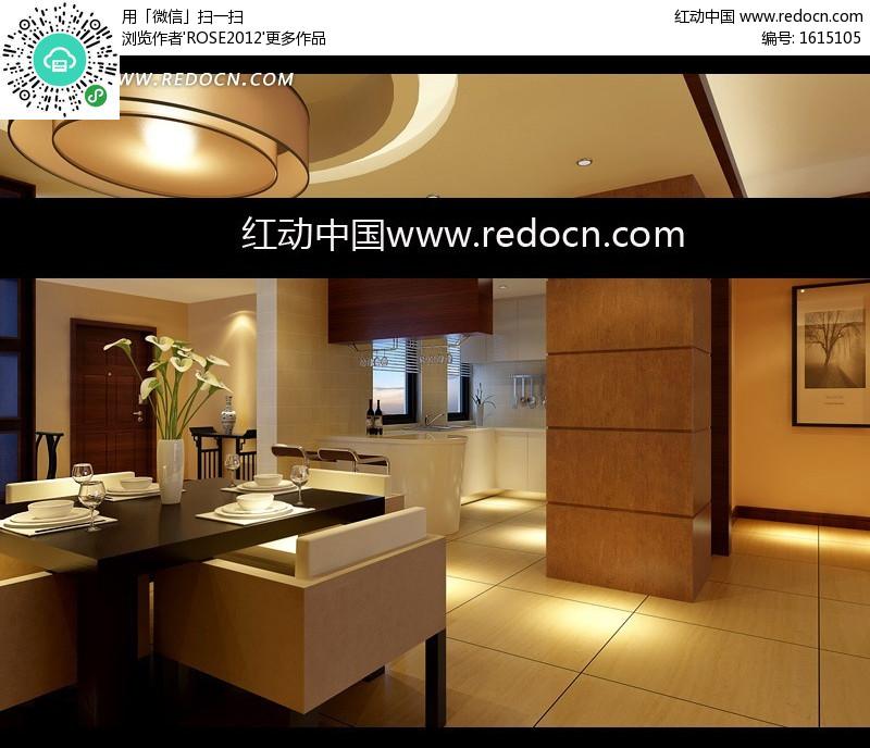 现代风格圆形吊顶餐厅和开放式厨房3dmax模型图片