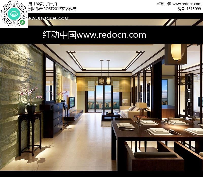 文化石装饰墙中式餐厅和客厅3dmax模型图片