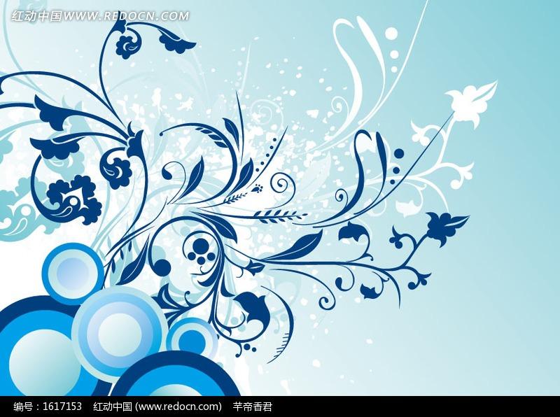 蓝色藤蔓圆形矢量图 1617153